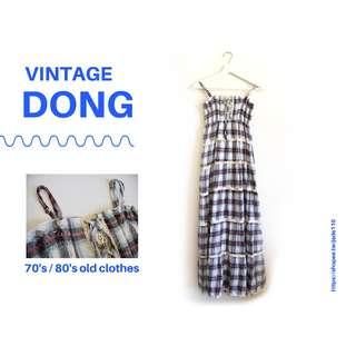 | 咚 咚 Vintage |日本古著-野莓格紋小洋裝