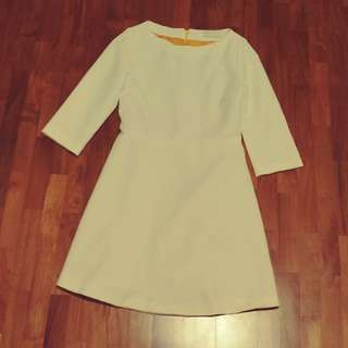 White three quarter sleeves office or casual dress