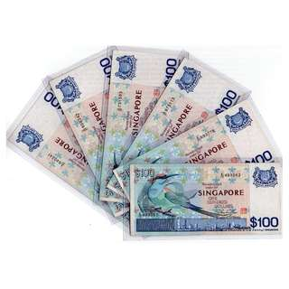 CLEARANCE SALES: Singapore Bird Series $100 Banknotes