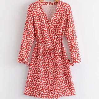 🔥Red cross floral long sleeve dress