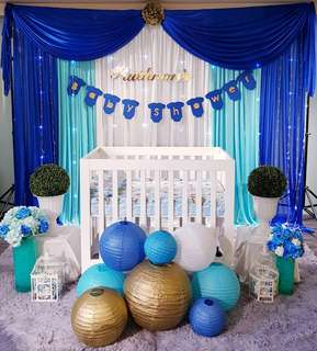 Baby shower backdrop & decor