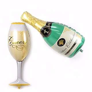 (ReadyStock) Champagne & Glass Foil Balloon Champagne Balloon Wine Balloon Deco