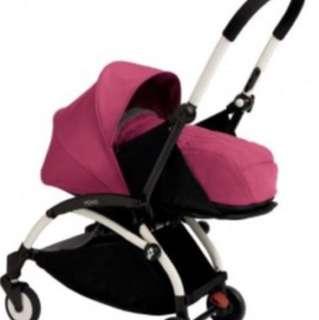 Yo-yo babyzen pink stroller bassinet -3 months used looks new