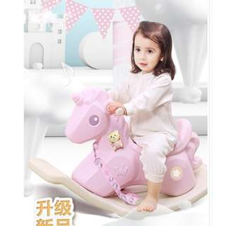 Kids Musical Rocking Horse Unicorn in Pastel Colours (Pink)