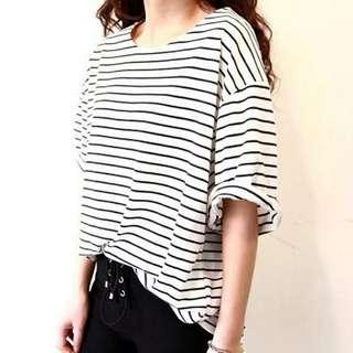 Summer T Shirt Women All-match Basic Tee Shirt Female Top  Stripe Loose Half Sleeve