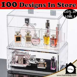 Clear Acrylic Transparent Make Up Makeup Cosmetic Jewellery Jewelry Organiser Organizer Drawer Storage Box Holder (LOTL35 + LOBL3)