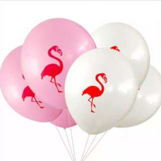 Tropical summer flamingo round balloon