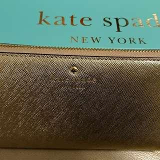 Kate Spade 香檳金長銀包