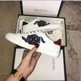 Gucci Leather Diamond Snake sneaker shoes