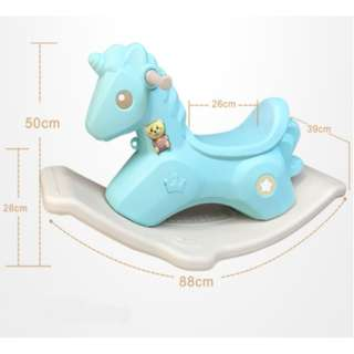 Kids Musical Rocking Horse Unicorn in Pastel Colours (Blue)