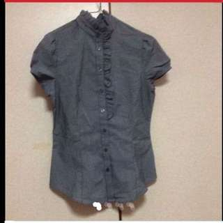$89 G2000 Sweet Ruffled Top Grey Blouse (Brand New With Tag)