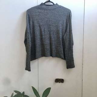 Mock-Neck Heather Grey Sweater size S