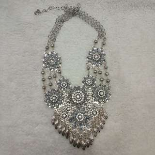 Silver bling diamond necklace