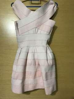 Salmon pink bandage dress