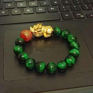 14mm Green Tiger Eye Pixue + 心经珠 bracelet