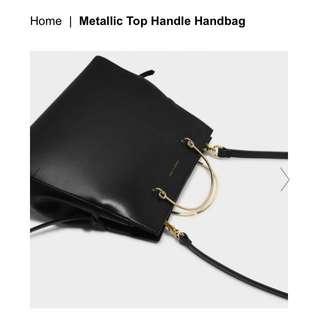 CHARLES & KEITH Black Metallic Top Handle Handbag Tote
