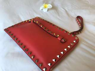(New) 粉橙紅 Valentino Clutch Studded $2800