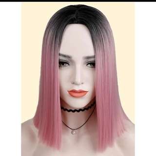 Cotton candy pink Centre parting straight shoulder length wig