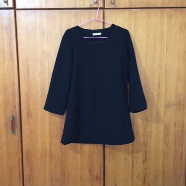 韓製黑色長袖短洋裝