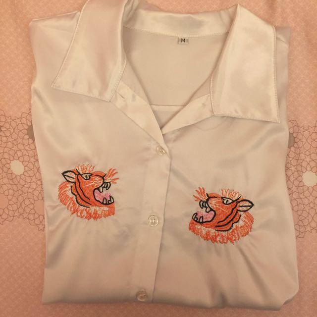 老虎刺繡襯衫