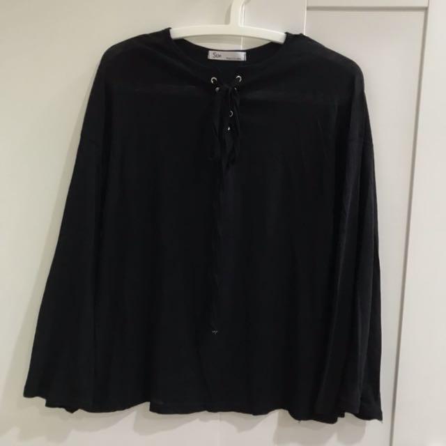 全新日系黑色綁帶上衣
