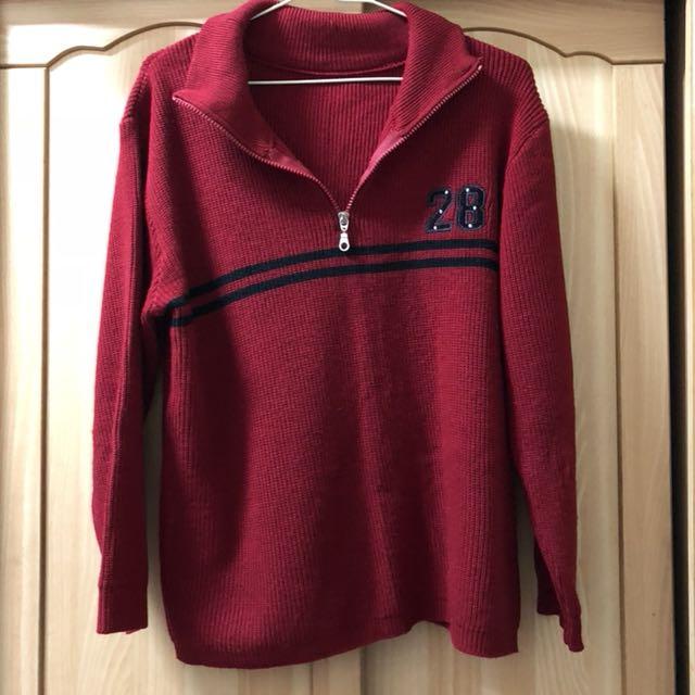 小資女孩👧紅色針織保暖拉鍊造型上衣