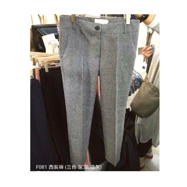 韓 灰色西裝褲