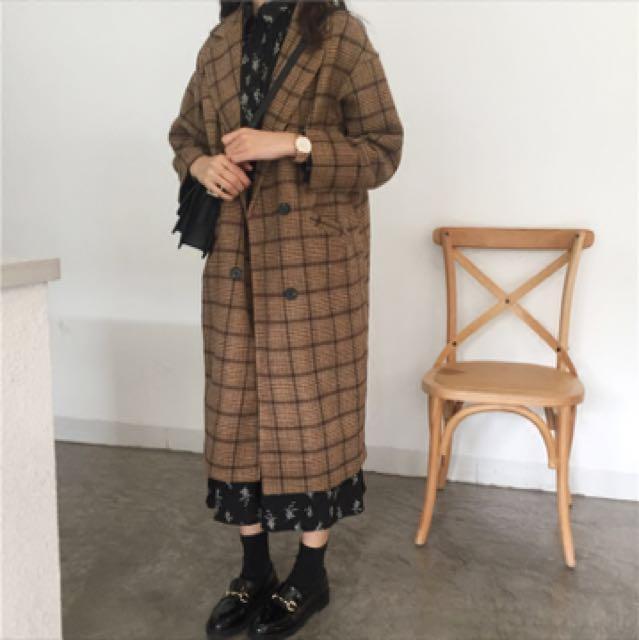 復古格紋大衣 外套