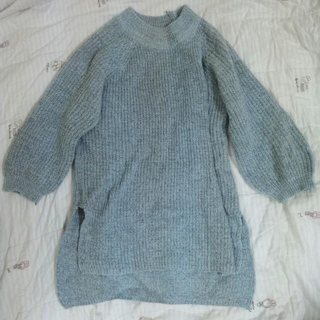 #可換物 長版藍灰針織裙