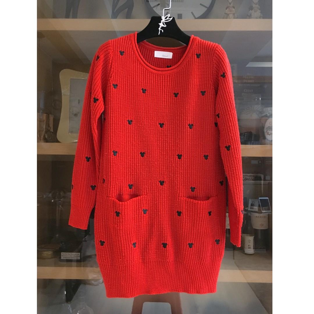 日本品牌 厚針織一件式長版洋裝