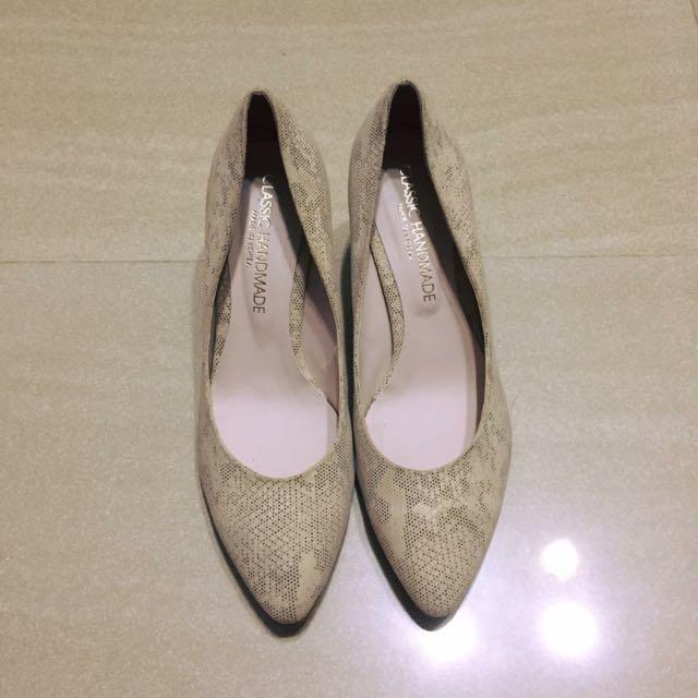 正韓韓製韓標 皮紋質感氣質高跟鞋