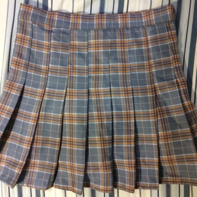 學院風 灰色格紋裙 (褲裙)