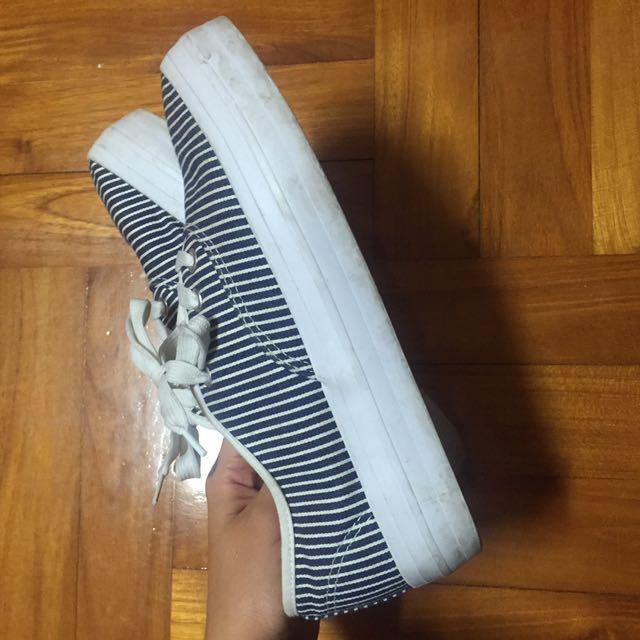 厚底鞋 條紋 藍白