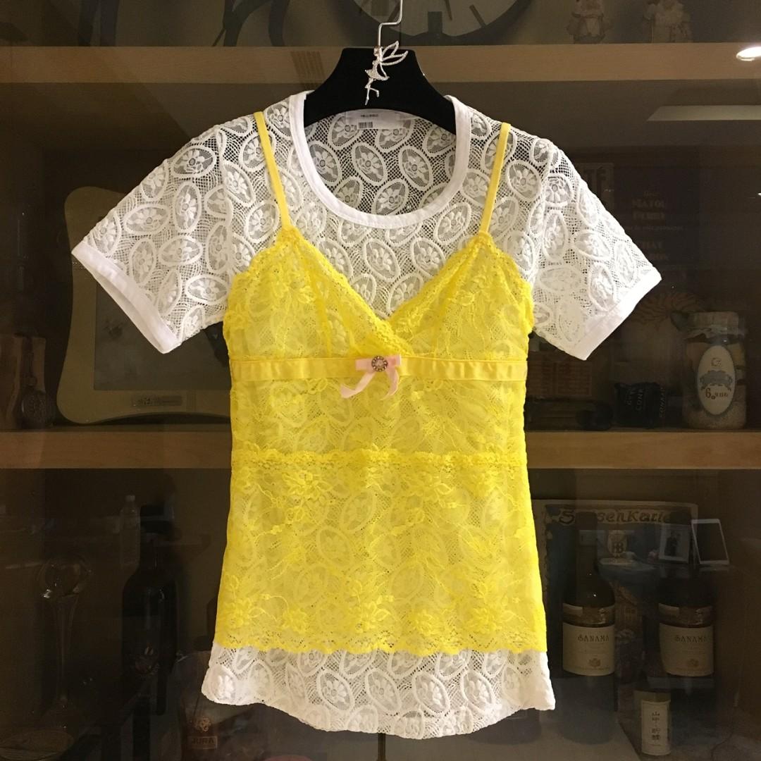 日本品牌 外罩蕾絲小可愛  可當假兩件式