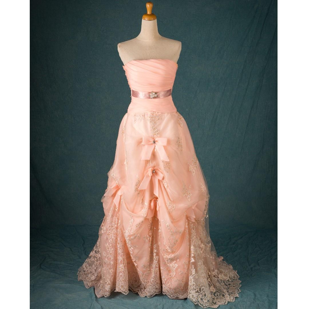 二手 鵝黃桃心領 小拖尾 氣質晚禮服 手工抓皺 二手婚紗 二手禮服 晚禮服