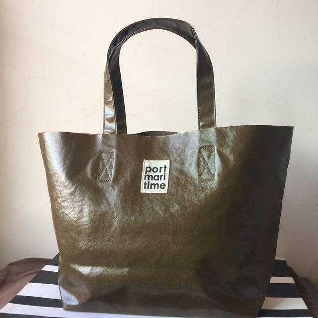日本品牌 橄欖綠 船型 TOTO 手提肩揹包