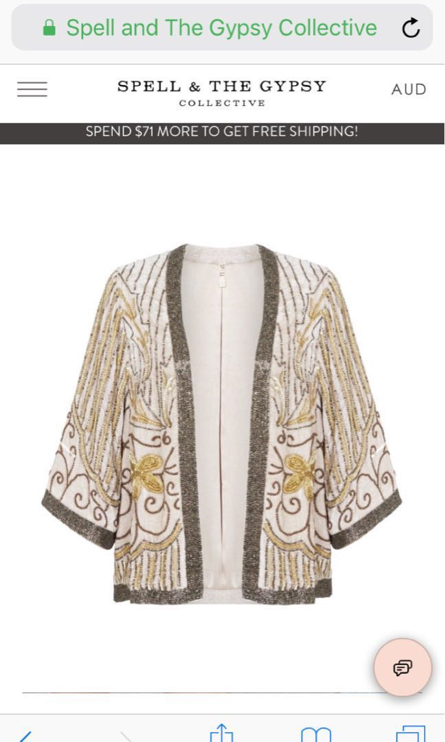 💕 Spell Designs Elsa Sequinned Jacket 🌿 Bnwt rrp $389