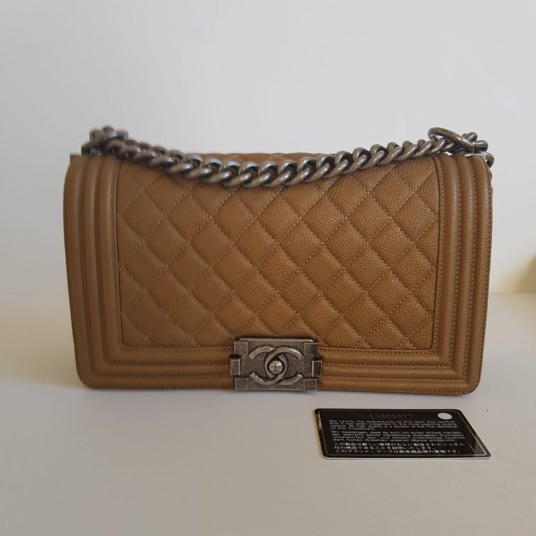 Authentic CHANEL dark gold old medium BOY bag