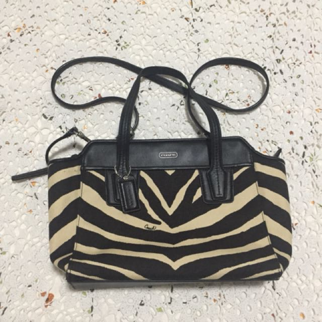 Authentic Coach Zebra print Sling bag