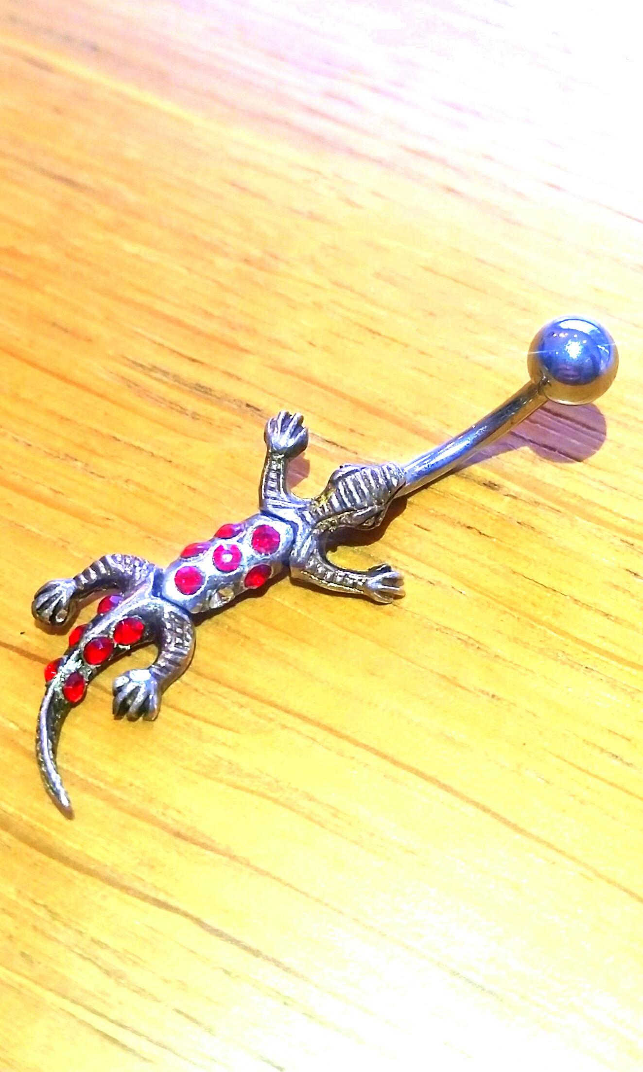 Belly button piercing surgical steel ruby lizard