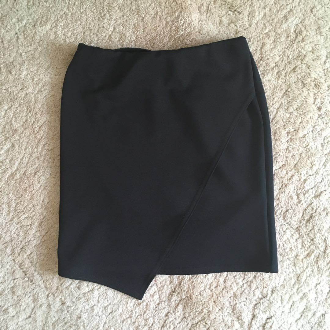 Black Bodycon Asymmetrical Skirt
