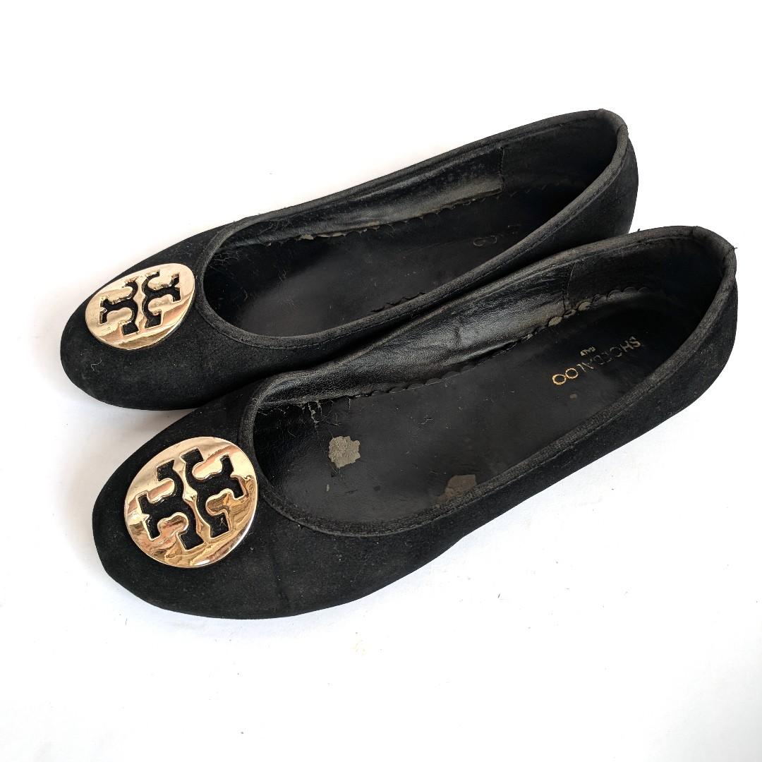 Black Flat Shoes Gold Accessories Sepatu Wanita Murah Preloved