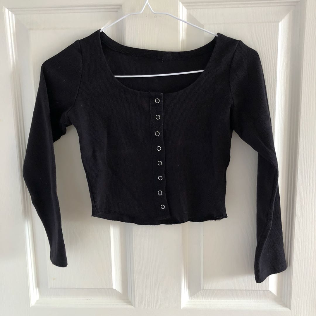 black ribbed button down top