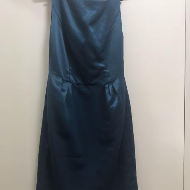 Blue Green silk satin cocktail dress
