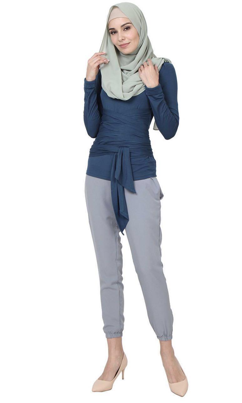 d509f37bd49a14 BN - Tucker Tie Sash - River Blue - Jersey Blouse, Women's Fashion,  Muslimah Fashion on Carousell