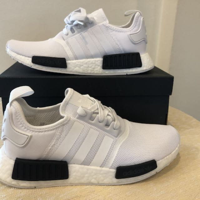 b7eff1e8a9426 BNIB Adidas NMD R1 White Black BB1968 (US 9 UK 8.5 EUR 42.5), Men's ...