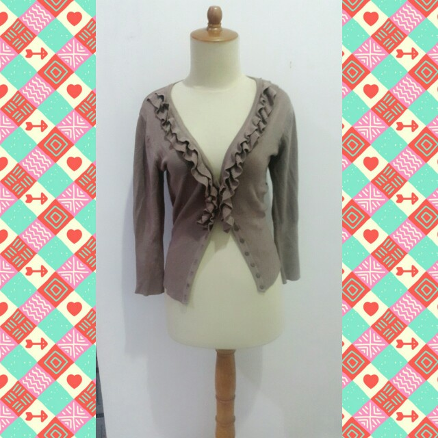 Brown Ruffle Cardigan By The Express