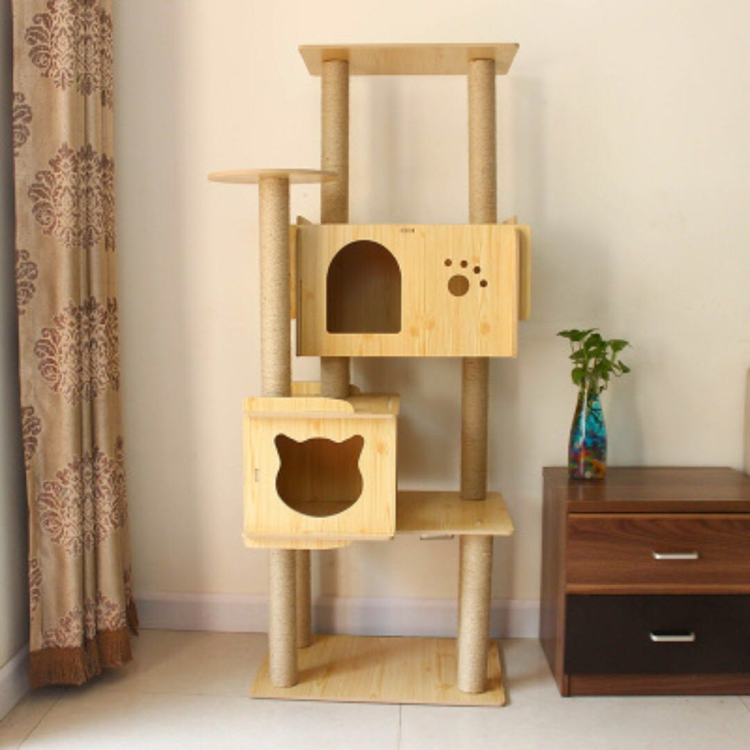 {In Stock} Cat Condo W159 (Pink, Natural Wood Color)
