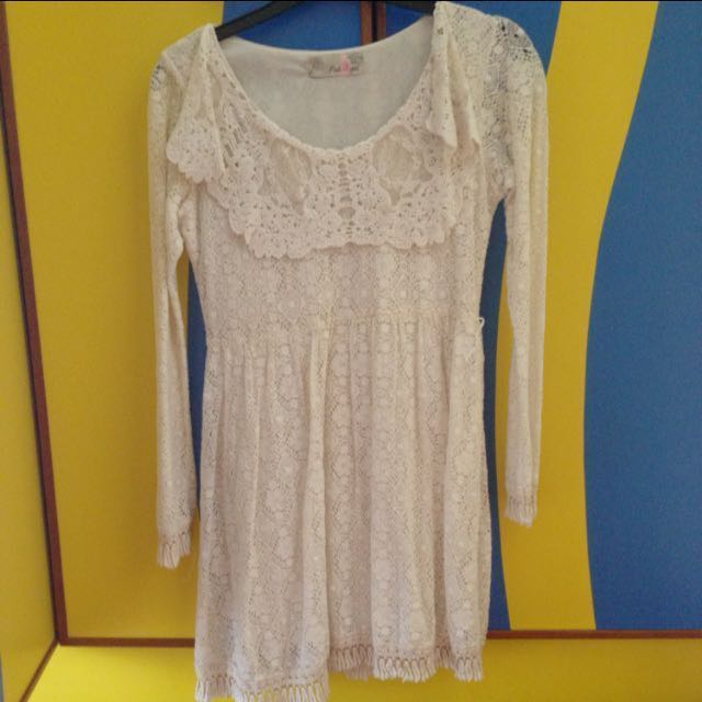 Cream Lace Baby Doll Dress
