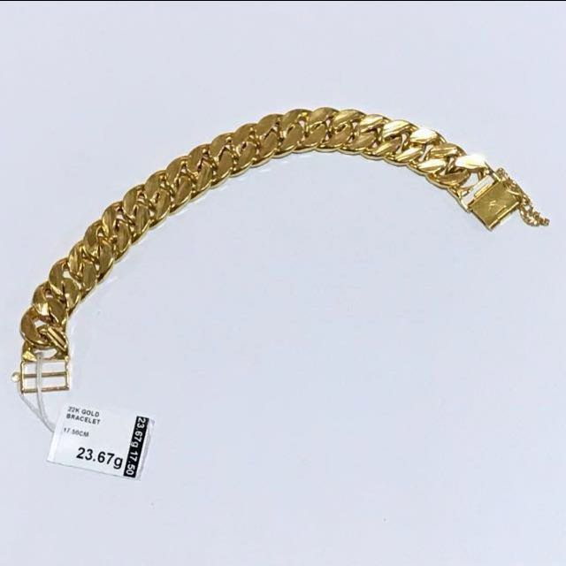 hollow yellow bracelet cuban link inches gold